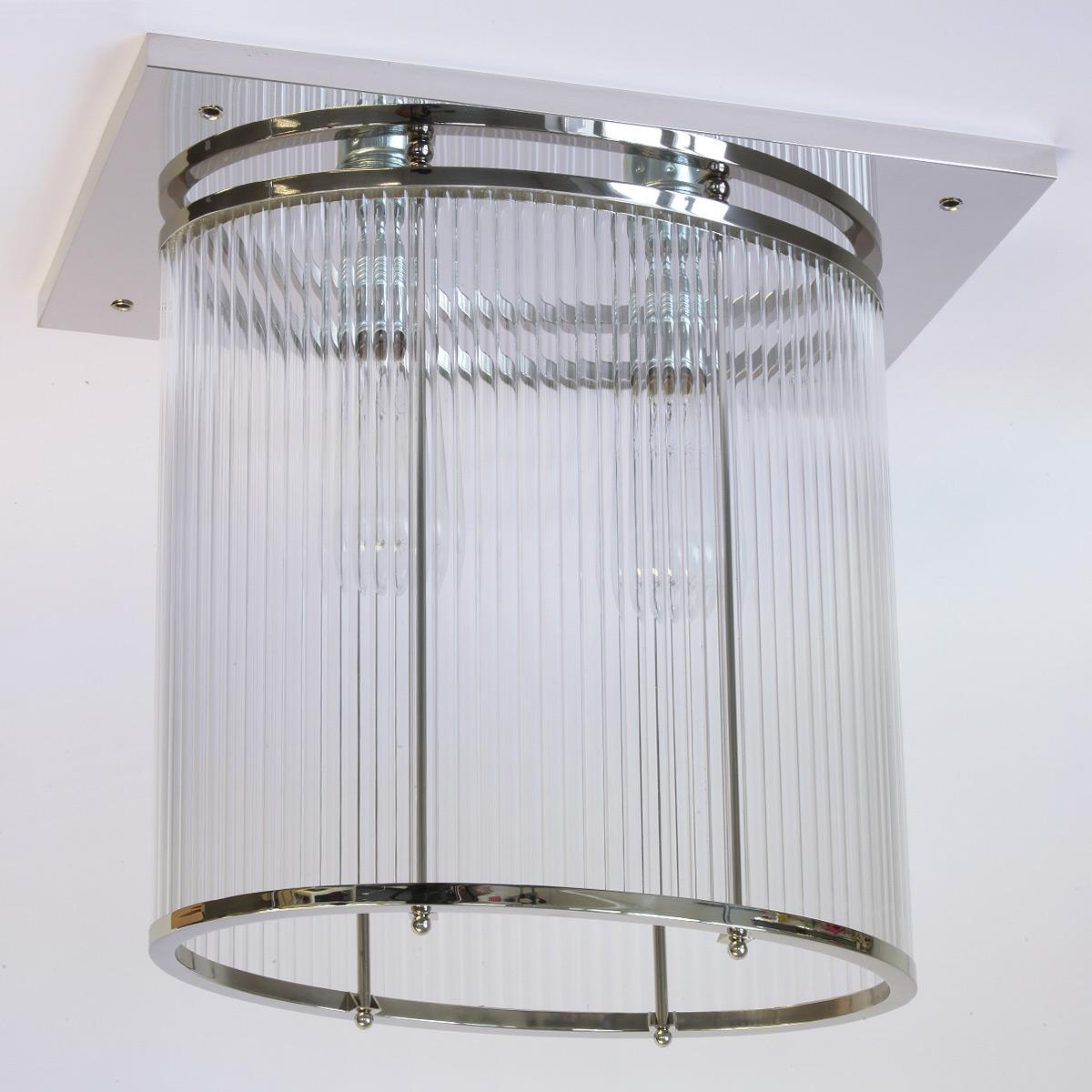 Vernickelte ovale Kristallglas-Deckenleuchte im Art déco-Stil