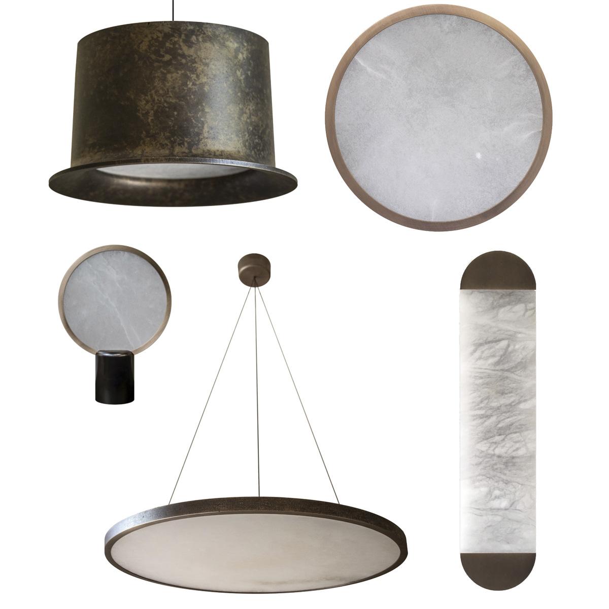 LED-Leuchten aus Alabaster und Bronzeguss