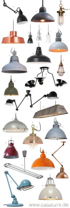23 Industrielampen und eine Tischleuchte