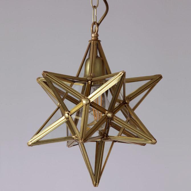 Stern-Hängeleuchte, in Florenz aus Messing und Glas gefertigt